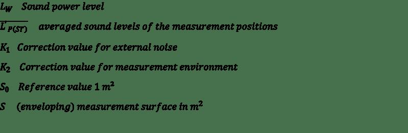 Parameters of sound pressure determination - sound power measurement